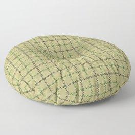 Fern Green & Sludge Grey Tattersall on Wheat Beige Background Floor Pillow