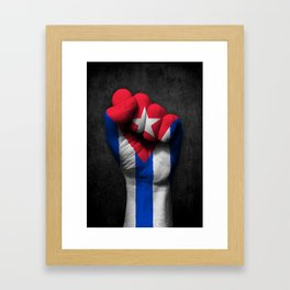Cuban Flag on a Raised Clenched Fist Framed Art Print