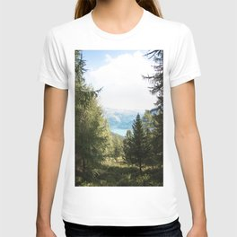 Photo of the lake Reschensee near Graun im Vinschgau/Curon Venosta, Trentino/Alto-Adige, Italy I | Fine Art Colorful Travel Photography T-shirt