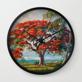 Royal Poinciana Tropical Florida Keys Landscape by A.E. Backus Wall Clock