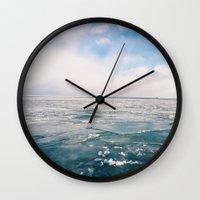 michigan Wall Clocks featuring Lake Michigan by Pan Kelvin