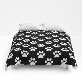 White paws pattern on black Comforters