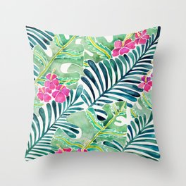 Lush Tropical Fronds & Hibiscus Throw Pillow