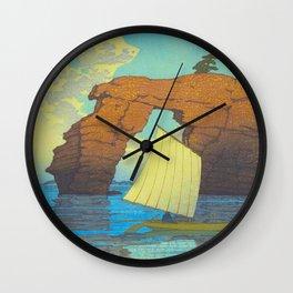 Kawase Hasui Natural Rock Arch w  Sailing Boat at Sea, Kawase Hasui, Japanese Woodblock Print  1937 Wall Clock