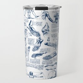 Da Vinci's Anatomy Sketchbook // Dark Blue Travel Mug