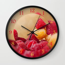 red and golden raspberry fruits Wall Clock