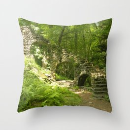 Castle Ruins in the Forest Throw Pillow