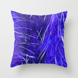 Periwinkle Blue Feather Boa Close-up With Silver Accents Throw Pillow