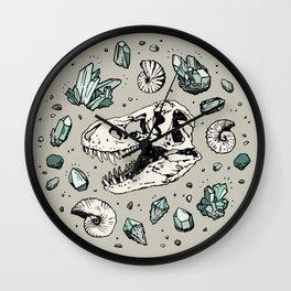 Geo-rex Vortex   Aquamarine   Dinosaur Skull Fossil Art Wall Clock