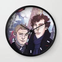 johnlock Wall Clocks featuring London Johnlock by enerjax