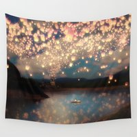 lanterns Wall Tapestries featuring Love Wish Lanterns by Paula Belle Flores