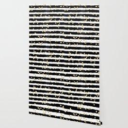 Modern black watercolor stripes chic gold confetti Wallpaper
