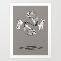 pisces Art Prints featuring Pisces by Sopta