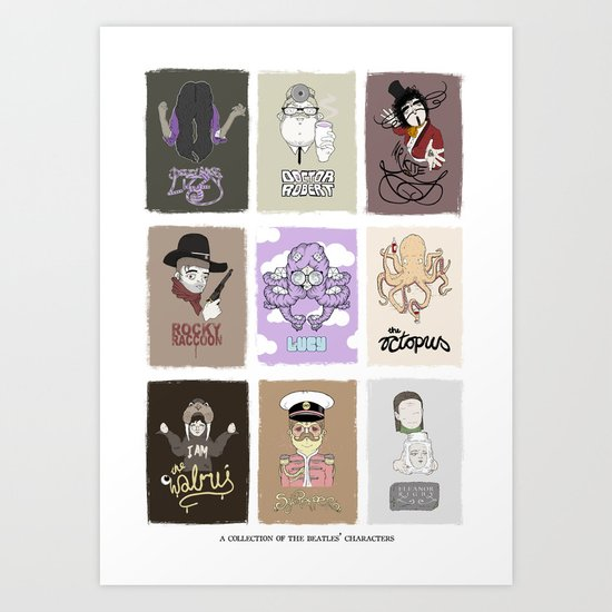 The Beatle's Character Collective Art Print