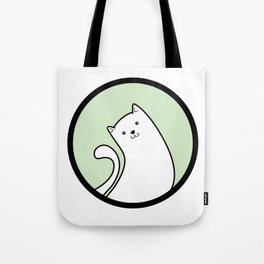 Little White Derpy Kitty Tote Bag