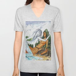 PNW Fishnets - Earth and Sky Goddess Kiss Painting Unisex V-Neck