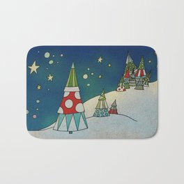 Winter Night on Mountains II Bath Mat