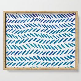 Watercolor knitting pattern - teal Serving Tray
