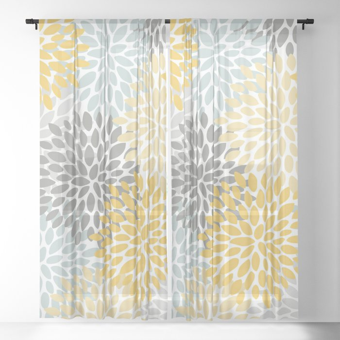 Fl Pattern Yellow Pale Aqua Blue And Gray Sheer Curtain By Meganmorrisart