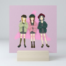 Cute Korean Street Fashion Ootd Group Girls Illustration Mini Art Print