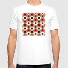Hexagon pattern (red) MEDIUM White Mens Fitted Tee