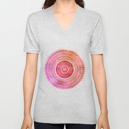 Watercolor Mandala in warm pastel colors Unisex V-Neck