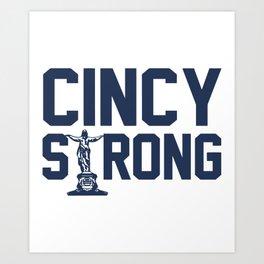 cincy strong confident blue shirt men woman trucker Art Print