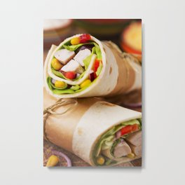 Healthy chicken wraps on a rustic chopping board Metal Print