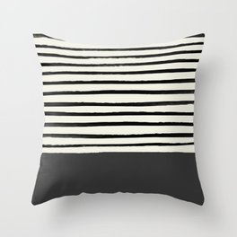 Charcoal Gray x Stripes Throw Pillow