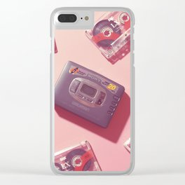 Walkman and Cassettes in pink Clear iPhone Case