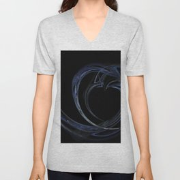 Dark Blue Heart Fractal 6 Unisex V-Neck