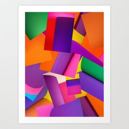 Abstract background of sheets of colored paper Art Print