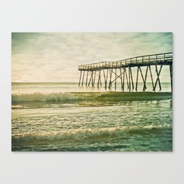 Lo-fi Oceanic Pier Wrightsville Beach NC Sunrise Vintage Tones Canvas Print