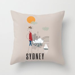 Sydney - In the City - Retro Travel Poster Design Throw Pillow