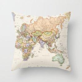 World Map Asia, Europe and Australia Throw Pillow