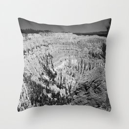 Amazing Bryce Canyon View in Monochrom Throw Pillow