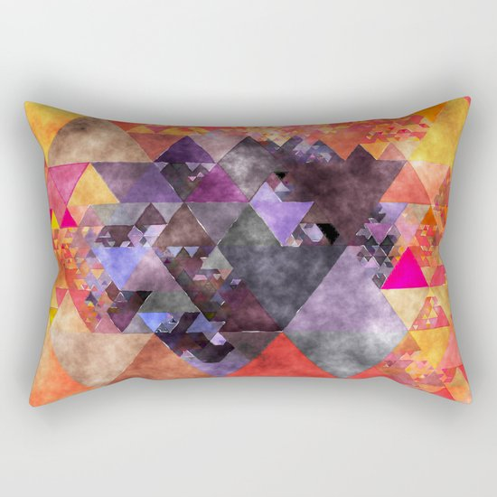 Abstract fire red yellow blue Triangle pattern- Watercolor Illustration Rectangular Pillow