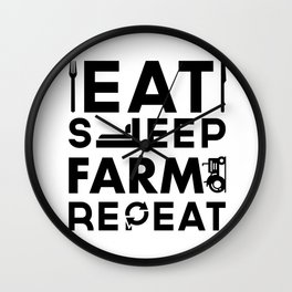 Eat Sleep Farm Repeat Wall Clock