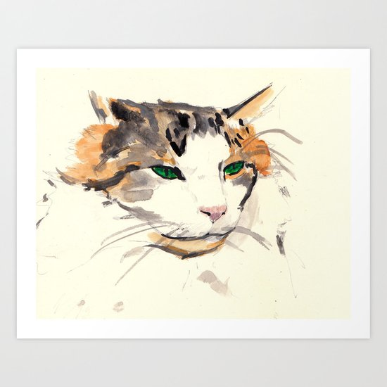 watercolour cat Art Print