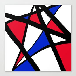 Geometric Red, White, and Blue Stars Abstract Canvas Print