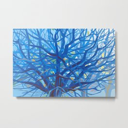 Radiant Tree in Blue Metal Print