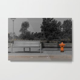 Metal Bench and Orange Fire Hydrant Near Street Metal Print