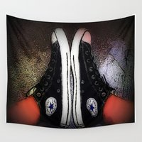 chuck Wall Tapestries featuring Chuck It by WIM-Apparel-Art