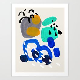 Fun Abstract Minimalist Mid Century Modern Colorful Shapes Marine Green Grey Yellow Harmony Art Print