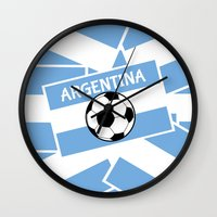 argentina Wall Clocks featuring Argentina Football by mailboxdisco