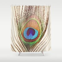 peacock Shower Curtains featuring Peacock by Laura Ruth