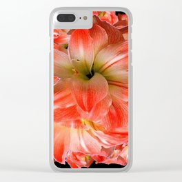 Black-Red Amaryllis Floral Pattern Clear iPhone Case