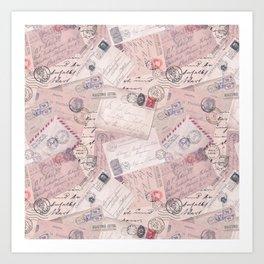 Nostalgic Letter and Postcard Collage Soft Pink Art Print