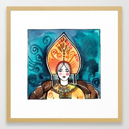watercolor postcard girls in kokoshnik Framed Art Print