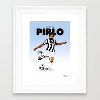 pirlo Framed Art Prints featuring Andrea Pirlo (no emblem) by Rudi Gundersen